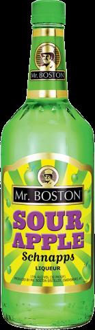 MR BOSTON SOUR APPLE SCHNAPPS 1.0L Spirits CORDIALS LIQUEURS