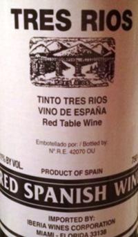 Tres Rios Red Spanish Wine