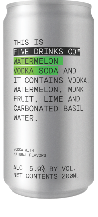 Five Drinks Co Watermelon Vodka Soda 4pk
